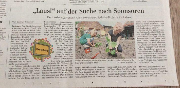 Die MAZ berichtet am 15.05.2017: LAUSL sucht Sponsoren und gründet Förderverein