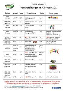 Veranstaltungsplan Oktober 2017