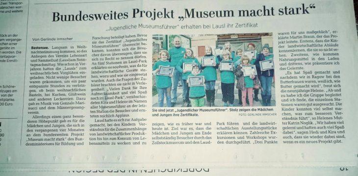 """MAZ vom 26.11.2019 – Bericht über unser """"Weihnachtliches Vorglühen"""" und das tolle Projekt """"Museum macht stark"""""""